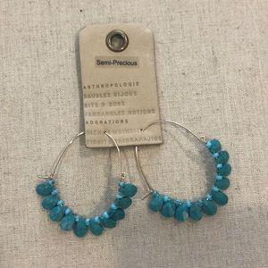 Anthropologie turquoise hoop earrings